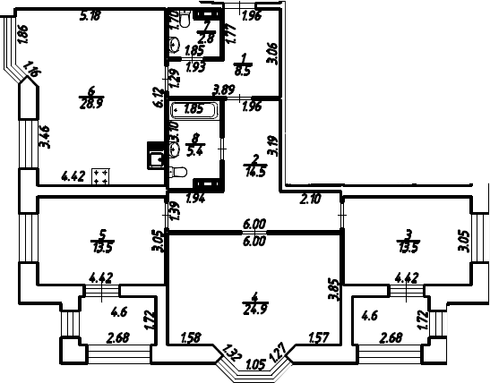 3-к.кв, 116.6 м²
