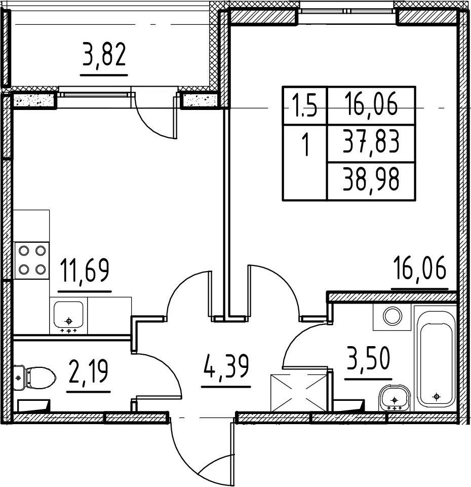 1-комнатная квартира, 37.83 м², 1 этаж – Планировка