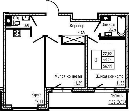3Е-к.кв, 56.99 м², 2 этаж