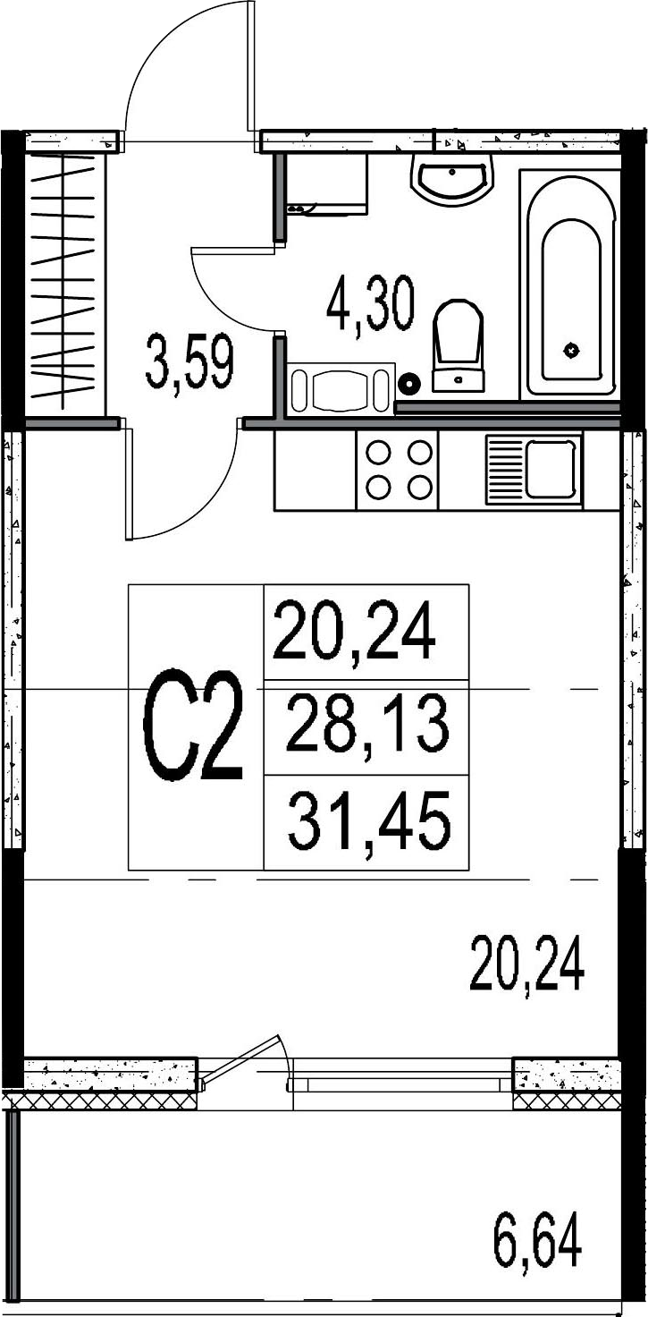 Студия, 28.13 м²