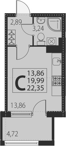Студия, 24.71 м²