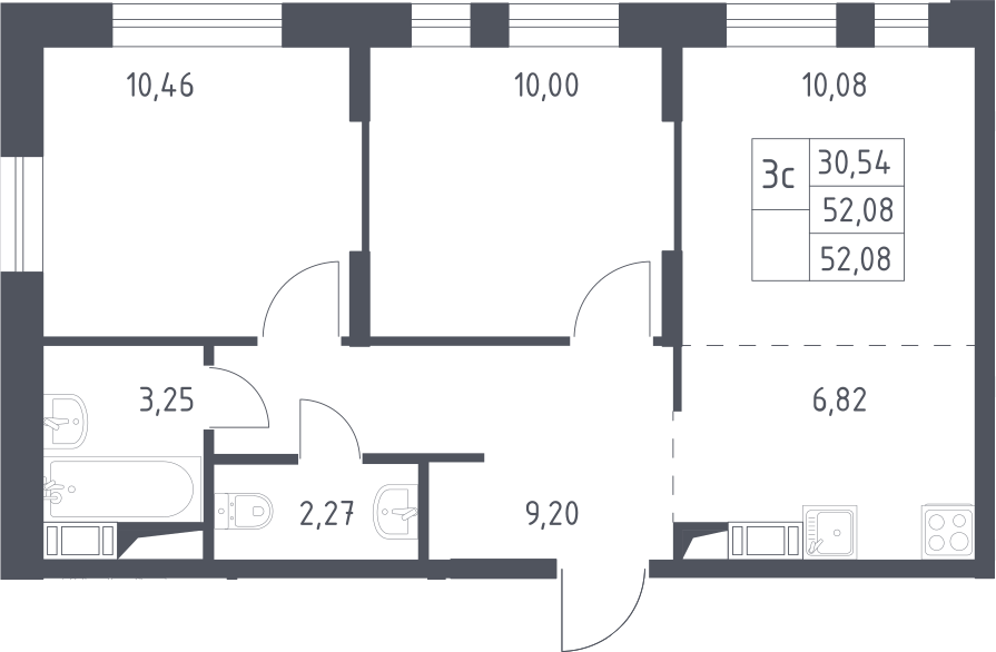 3Е-к.кв, 52.08 м², 12 этаж
