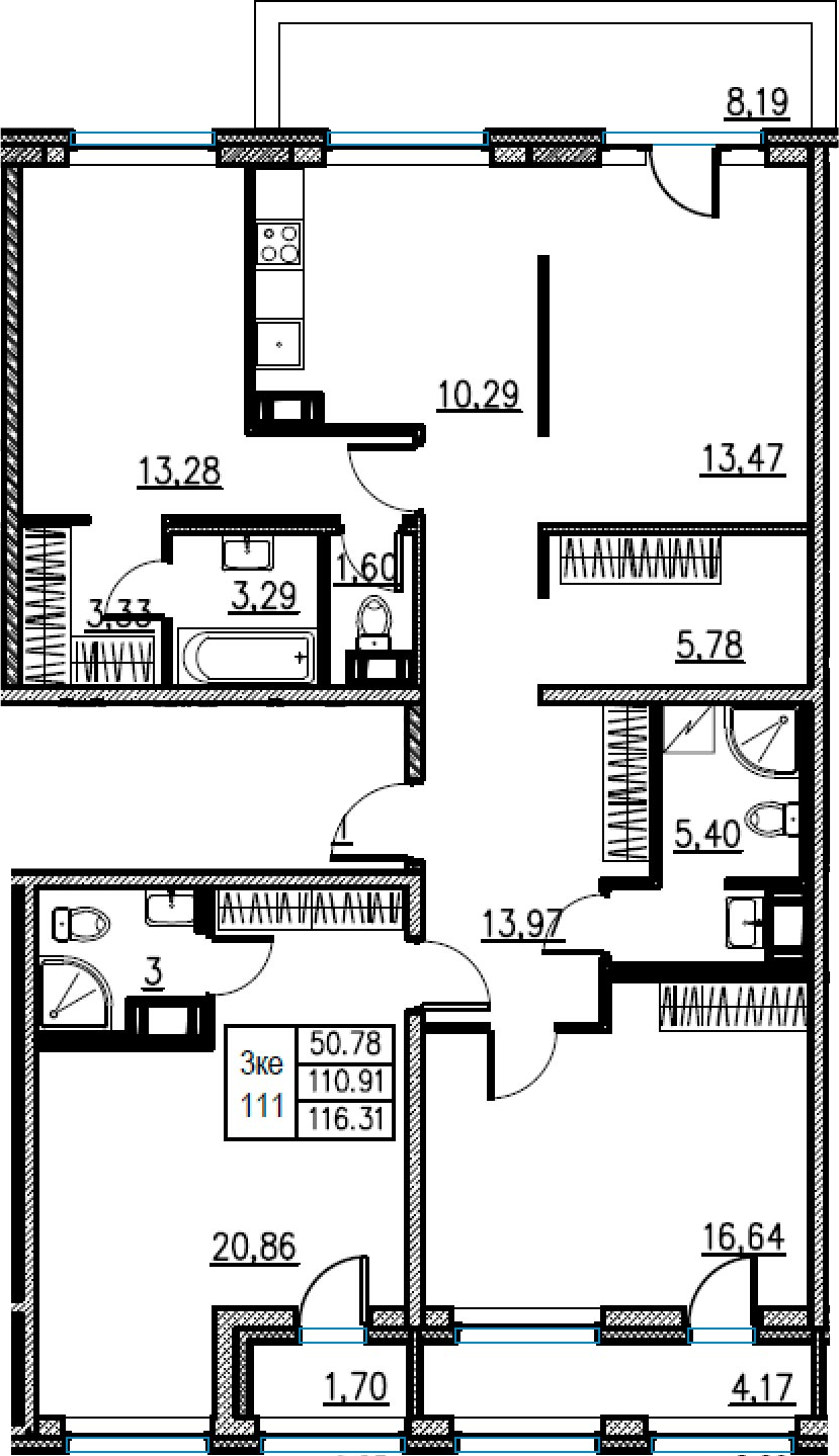 4Е-комнатная, 116.31 м²– 2