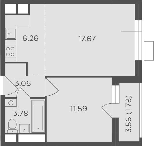 2Е-комнатная, 44.14 м²– 2
