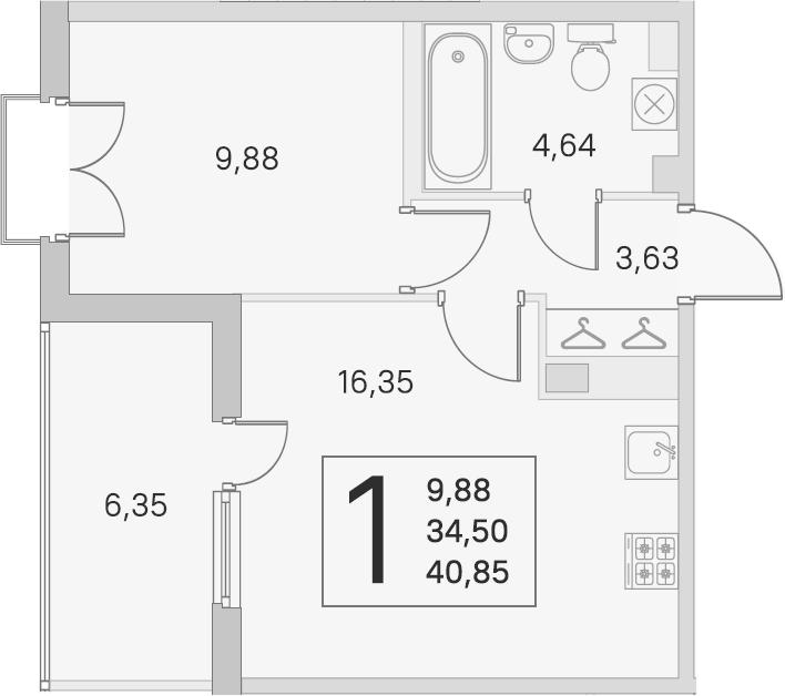 2Е-к.кв, 34.5 м², 3 этаж