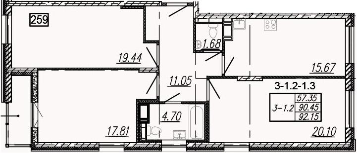 3-к.кв, 93.85 м²