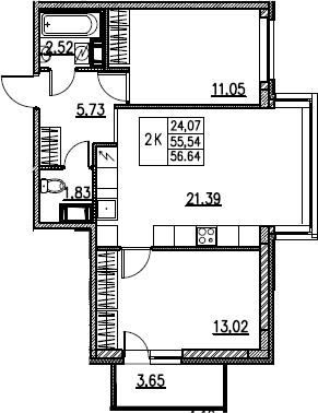 3Е-комнатная, 56.64 м²– 2