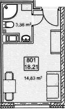 Студия, 18.21 м²– 2