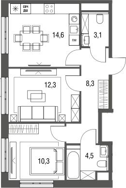 2-к.кв, 53.1 м², 2 этаж