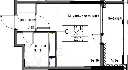 Студия, 22.17 м²– 2