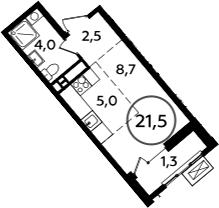 Студия, 22.8 м²