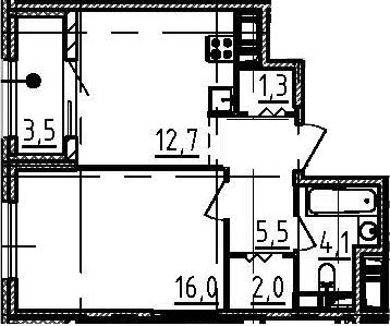 1-комнатная, 43.4 м²– 2