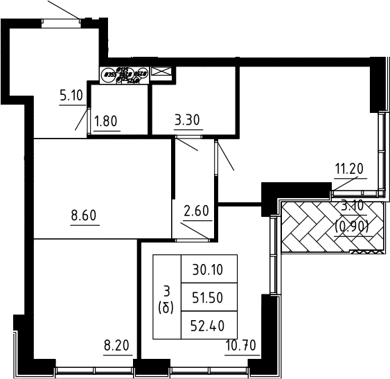 3Е-к.кв, 52.4 м², 11 этаж