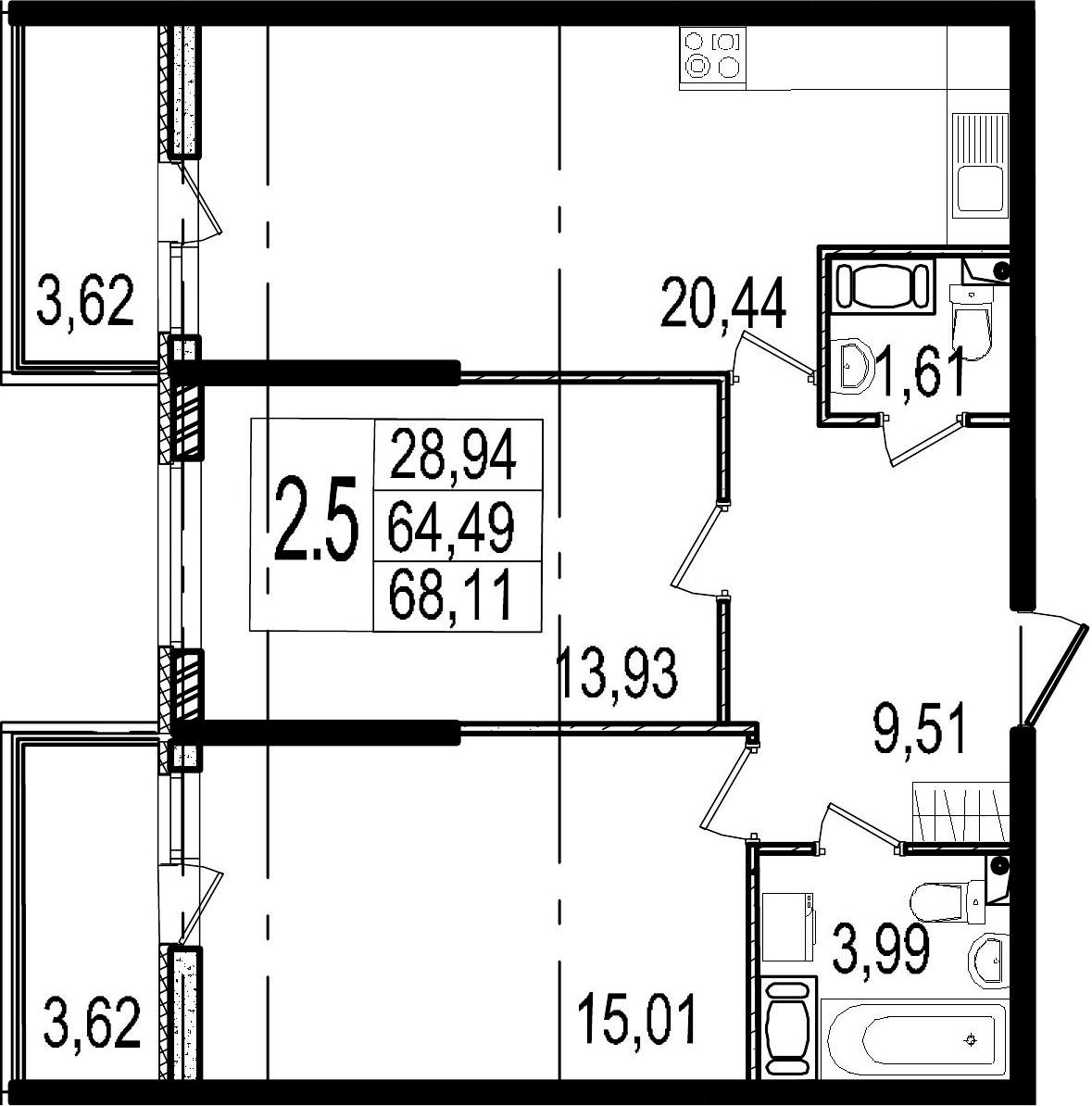3Е-к.кв, 64.49 м²