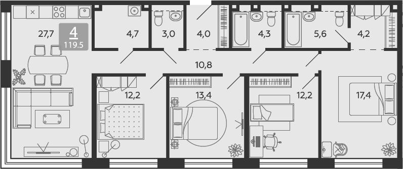 5Е-к.кв, 119.5 м²