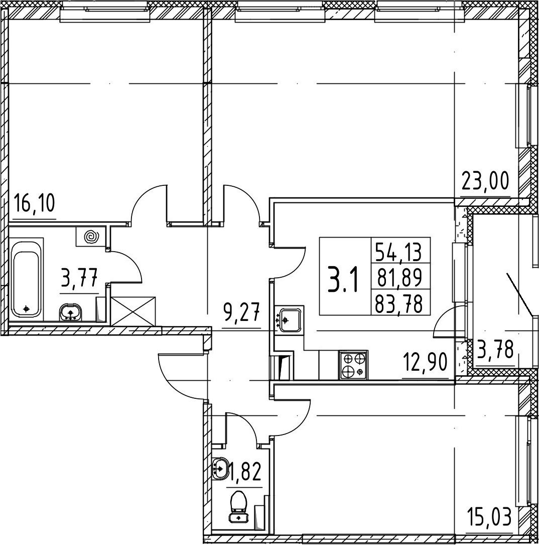 3-к.кв, 81.89 м²