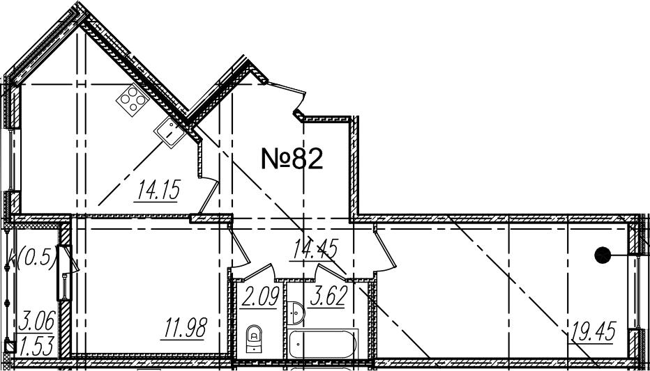2-комнатная, 67.27 м²– 2