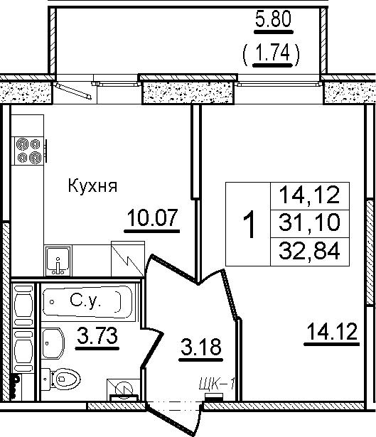 1-к.кв, 32.84 м², от 10 этажа
