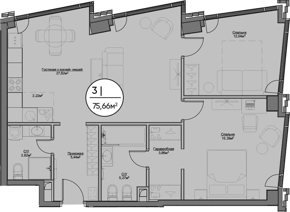 3Е-к.кв, 75.66 м²