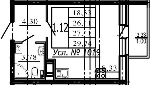 Студия, 26.41 м², 10 этаж