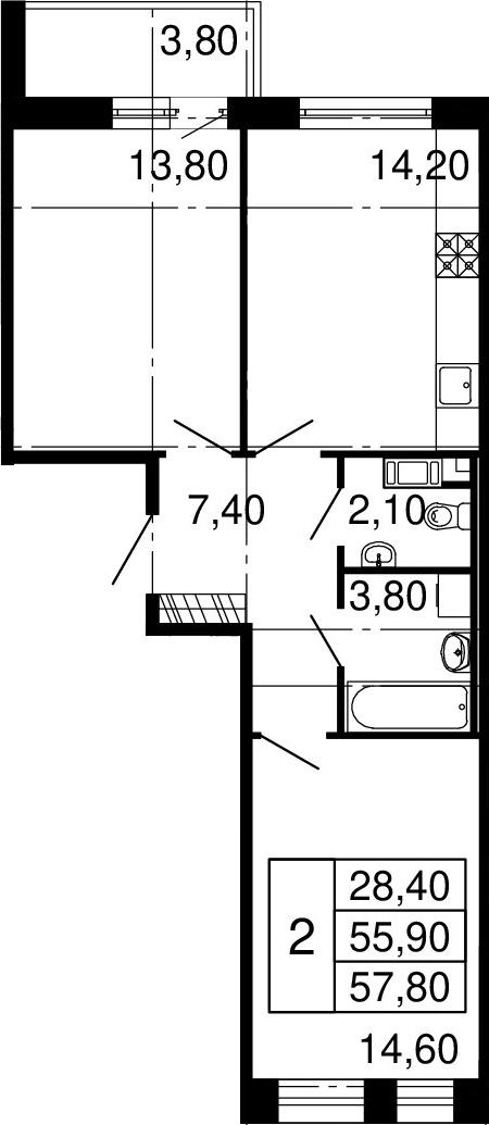 2-к.кв, 55.9 м², 8 этаж