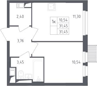 1-к.кв, 31.45 м², от 7 этажа