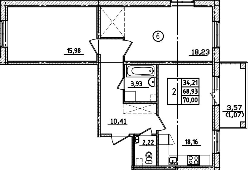 3Е-к.кв, 70 м², 1 этаж