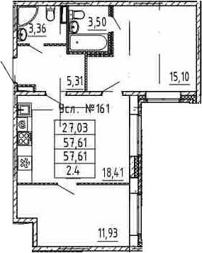 3-к.кв (евро), 57.61 м²