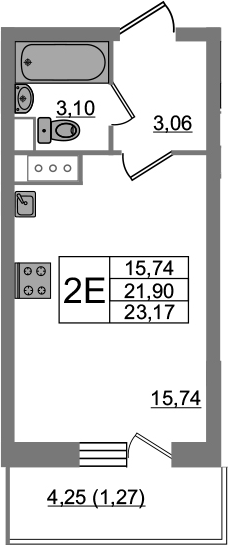 Студия, 23.17 м²– 2