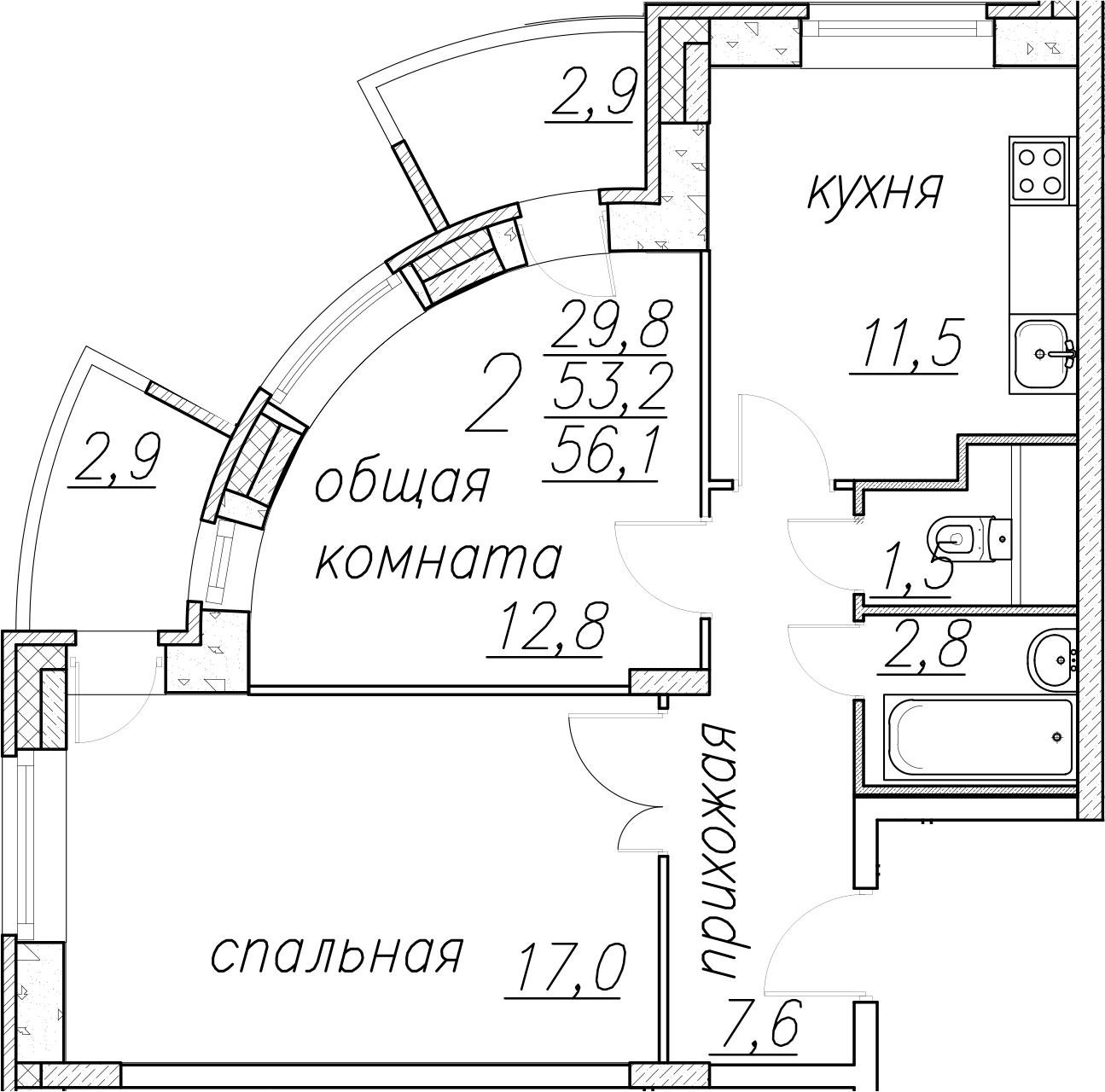 2-комнатная, 56.1 м²– 2