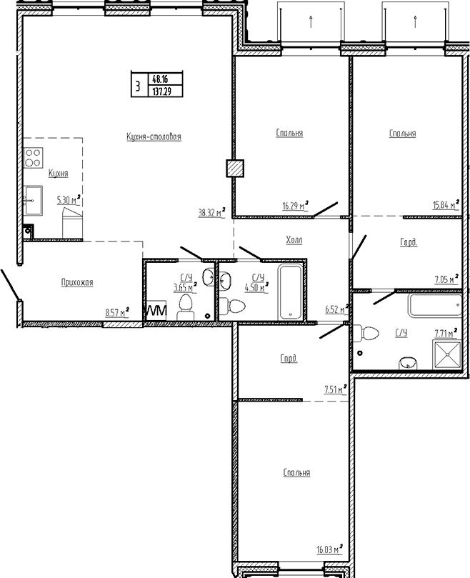 4Е-к.кв, 137.29 м²