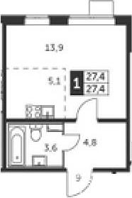 Студия, 27.4 м²– 2