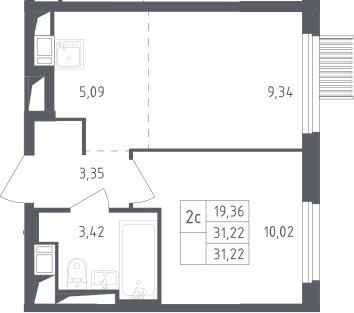 2Е-комнатная, 31.22 м²– 2