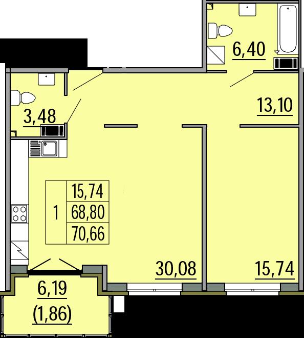 2Е-комнатная, 70.66 м²– 2
