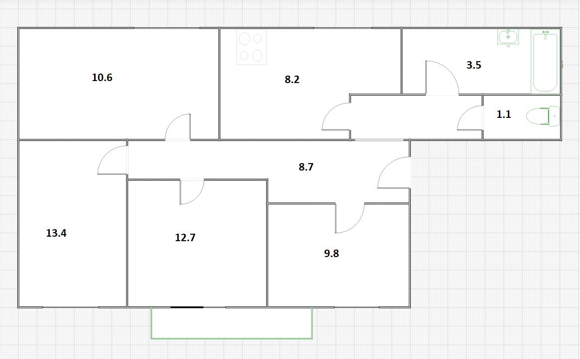 4-к.кв, 68.3 м²