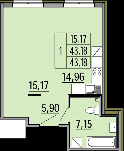Студия, 43.18 м²