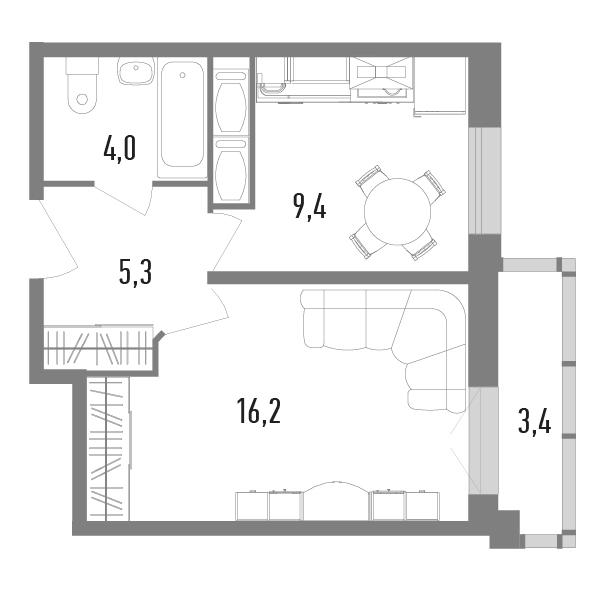 1-комнатная, 35.9 м²– 2