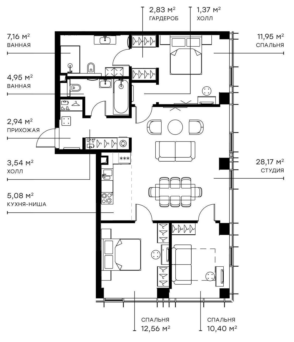 4Е-комнатная, 90.95 м²– 2