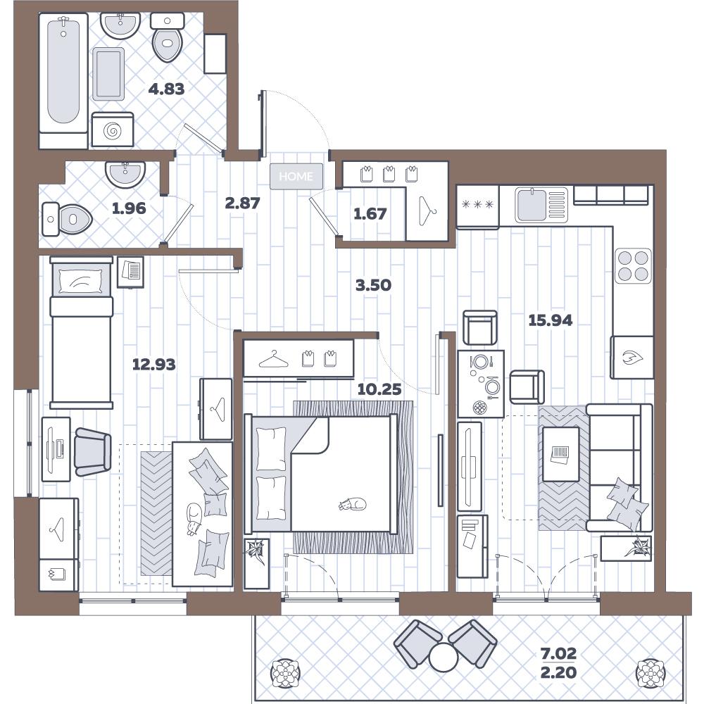 3Е-комнатная, 56.15 м²– 2