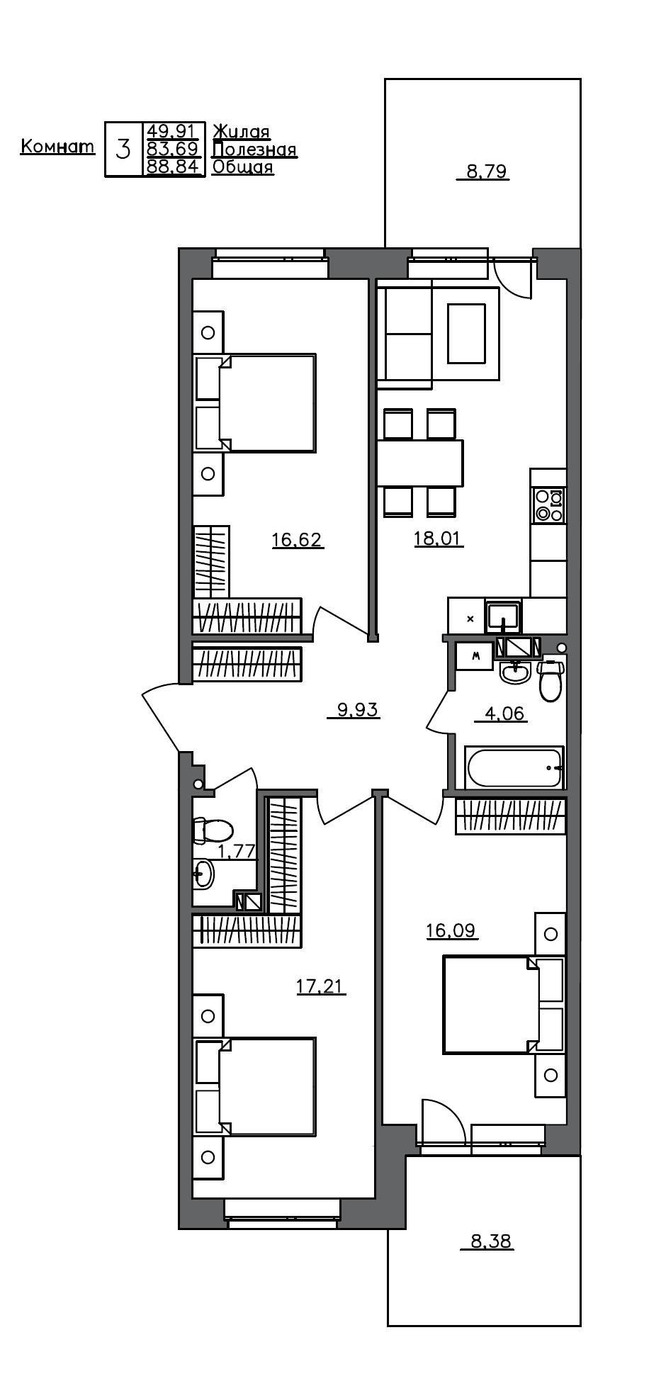 4Е-комнатная, 88.84 м²– 2