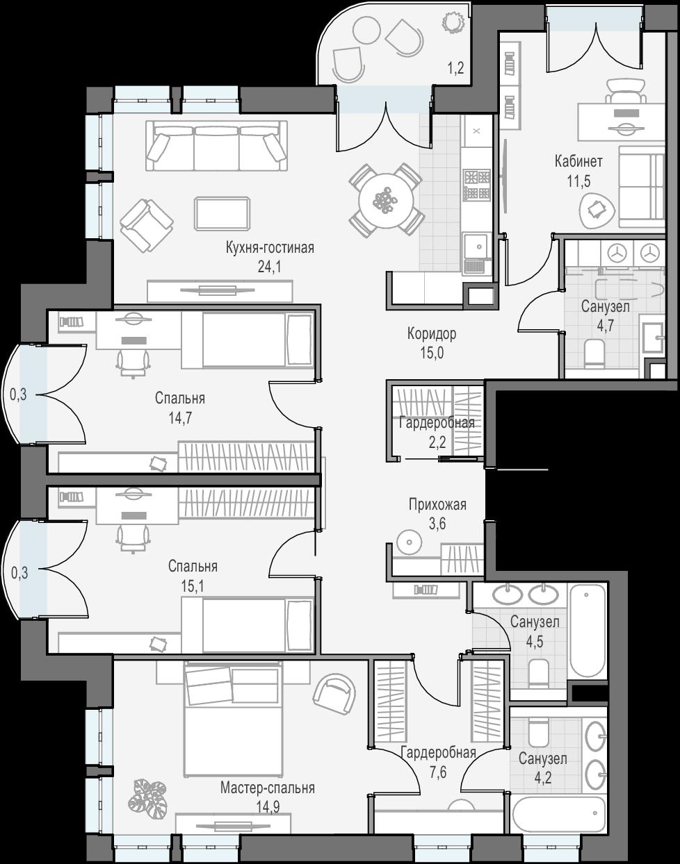 5Е-комнатная, 122.5 м²– 2