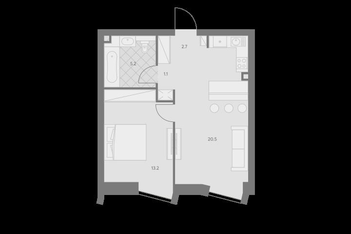 2Е-комнатная, 42.7 м²– 2