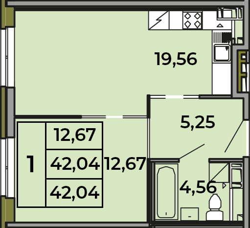 2Е-комнатная, 42.04 м²– 2