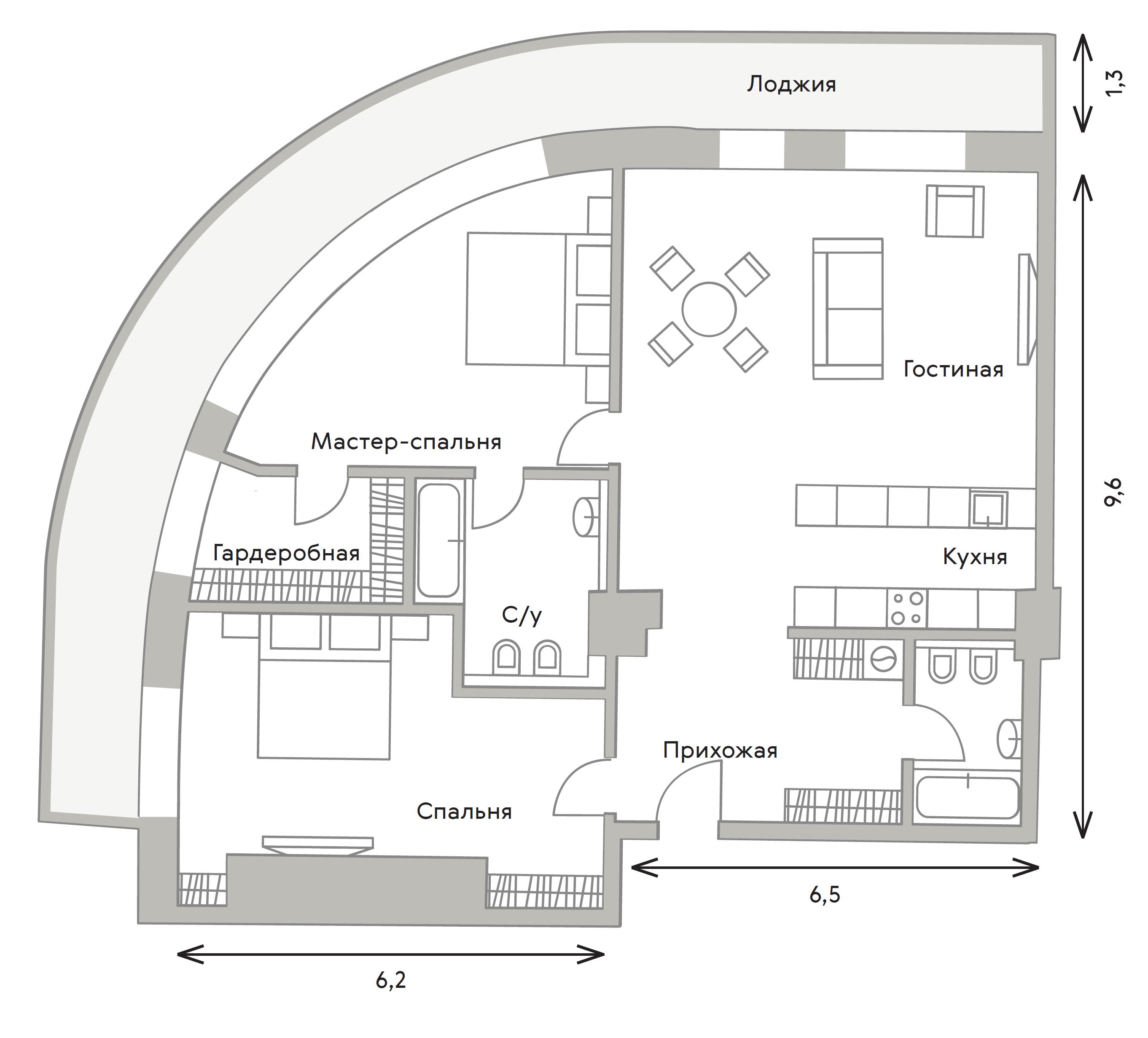 3Е-комнатная, 113 м²– 2