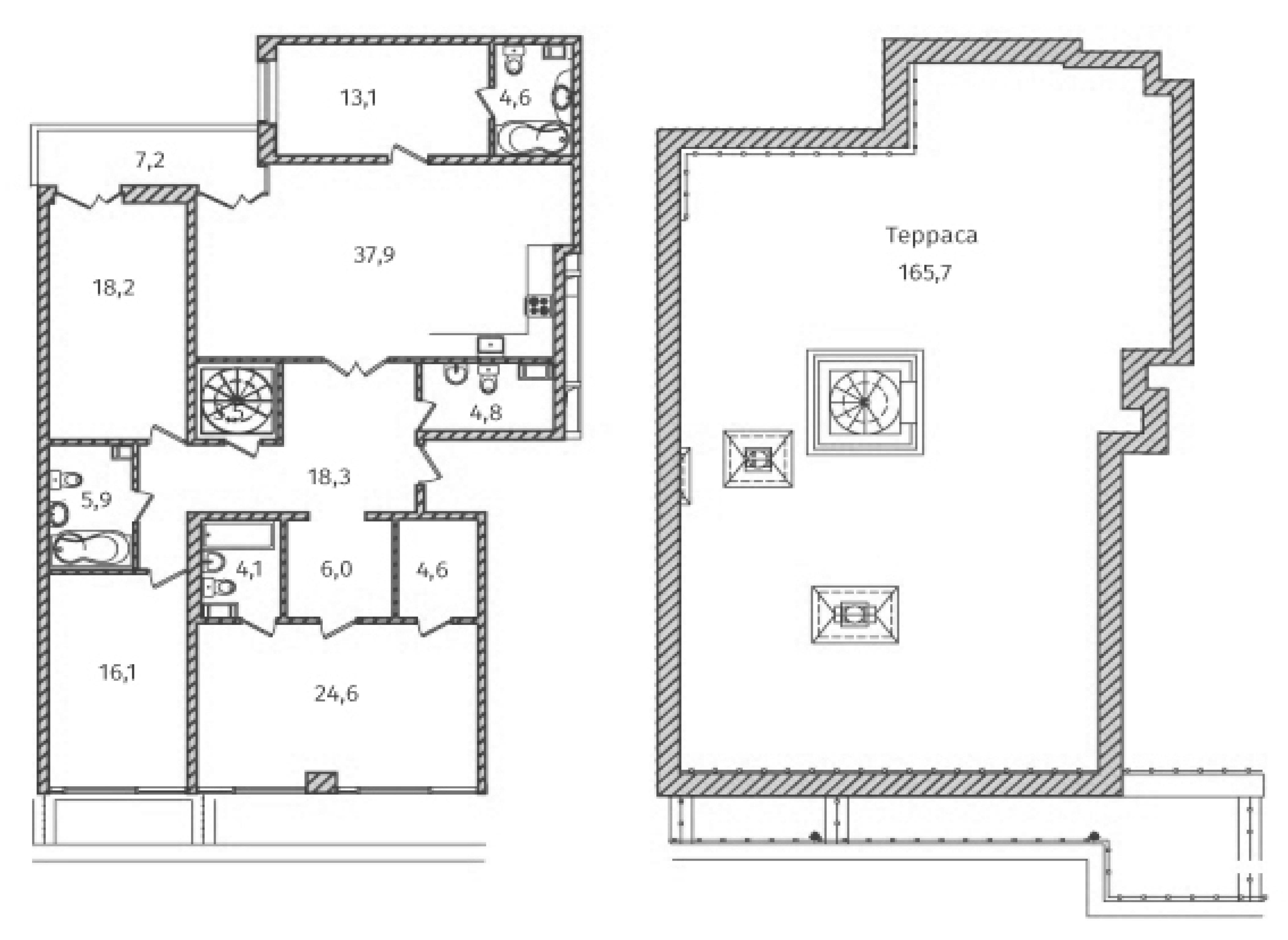 5Е-комнатная, 215 м²– 2