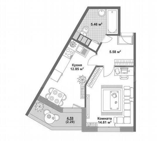 1-к.кв, 40.79 м²