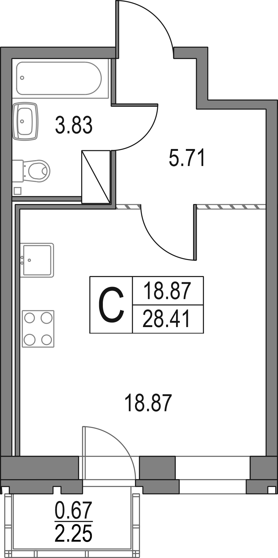 Студия, 28.41 м²– 2