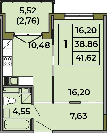 1-к.кв, 38.86 м², 2 этаж