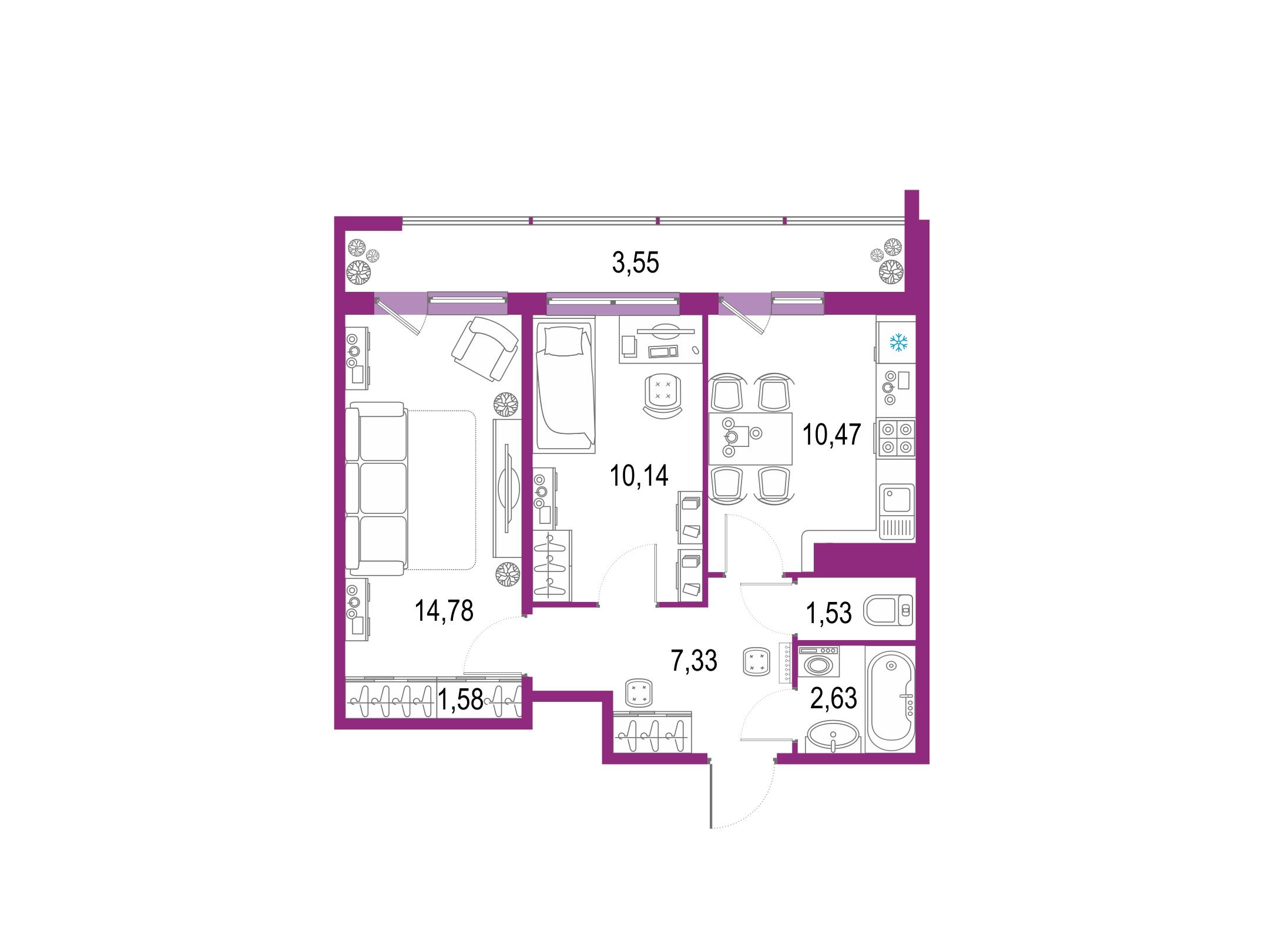 2-к.кв, 49.53 м²