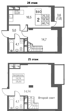 3Е-к.кв, 60.74 м², 24 этаж
